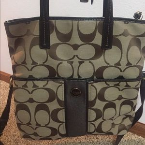 Authentic Coach Signature Stripe Foldover Tote.